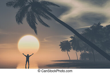 Man with hands raised at sunset on tropical island . This is...