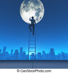 Man climb a ladder to the moon in the city background. This...