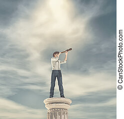 Businessman standing on a column