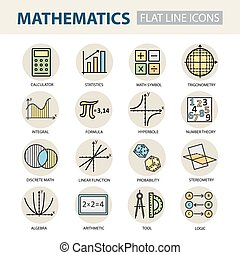Set of modern thin line icons for math. Vector illustration...
