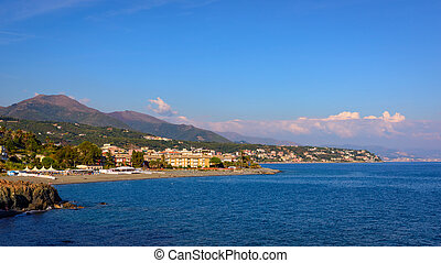 Aerial view of the Ligurian Coast between Varazze and...