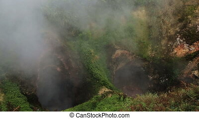Geyser Gates of Hell in Valley of Geysers. Kamchatka...