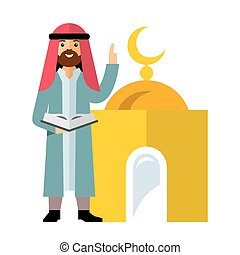 Vector Islamic Prayer. Flat style colorful Cartoon illustration.