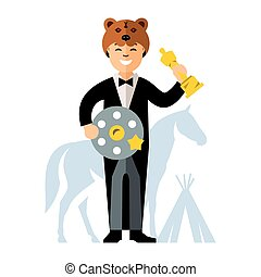 Vector Cinema Award. Best Actor. Flat style colorful Cartoon...