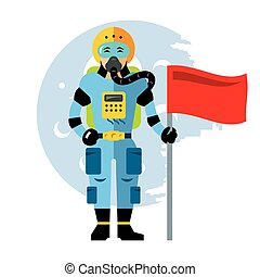 Vector Space astronaut. Flat style colorful Cartoon...