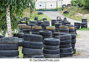Driving school, driver training, road of the old tires -...