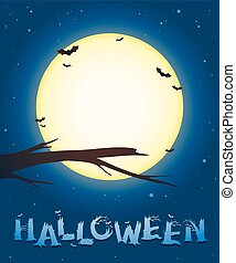 Halloween background with a full moon and bats - Halloween...