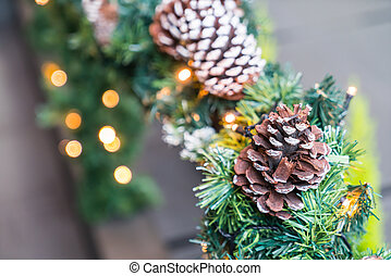 Closeup of Christmas tree decorations background
