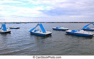pédale, bateaux, dans, les, mer