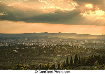Florence aerial foggy cityscape. Panorama view from Fiesole hill, Italy