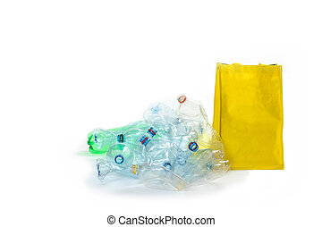 Recycling of plastic waste concept - Pile of plastic bottles...