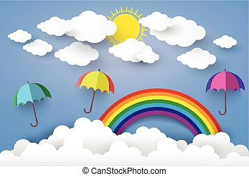 Full Color Umbrella with Cloud Paper art Style.vector...
