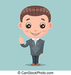 Like thumb up businessman mascot happy support approval cartoon design vector illustration