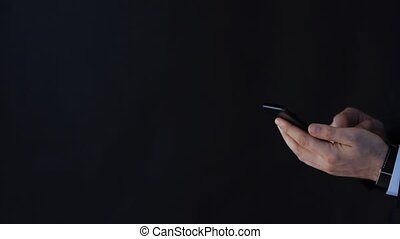businessman hands touching screen of smartphone - business,...
