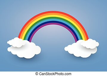 Cloud and Rainbow in blue sky  Paper art Style.vector Illusatration