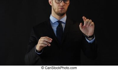 businessman in suit working with virtual screen - business,...