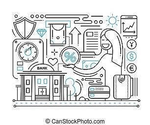Bank Services - line design composition
