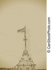 The Russian Fortress flag flatters over Peter and Paul...