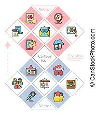 icon set media vector