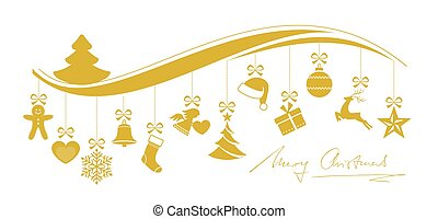 Wavy Christmas border with a set of hanging ornaments - Set...