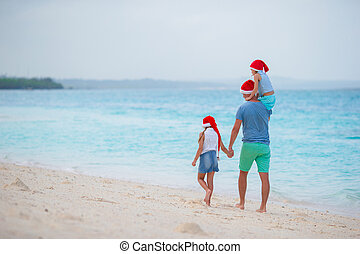 Dad with kids on Christmas vacation. Christmas holidays with...