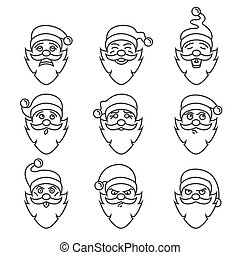 Santa Claus character. Emotions icon set. Merry Christmas. Linear version