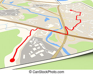 route - 3d illustration of city map with red route