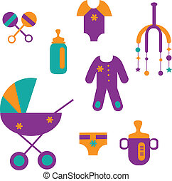 colorful baby set of toys and clothing