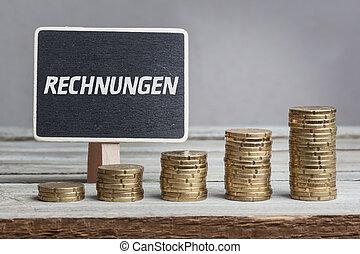 Rechnungen invoices in German, chalk blackboard and money...