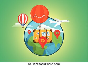 Vacation travelling concept. Vector travel illustration....
