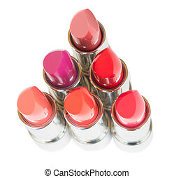 Collection of lipsticks - puple, pink and red shiny...