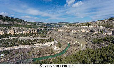 Huecar gorge in Cuenca. Spain - Wide angle view of Huecar...