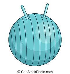 Children fitball icon, cartoon style - Children fitball...