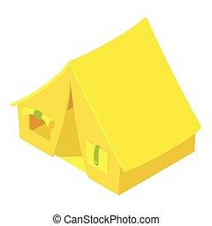 Tent icon, isometric style - Tent icon. Isometric isometric...
