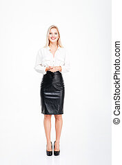 Full length portrait of cheerful attractive young businesswoman