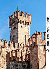 Scaligers castle of Sirmione at Garda Lake. Italy. -...