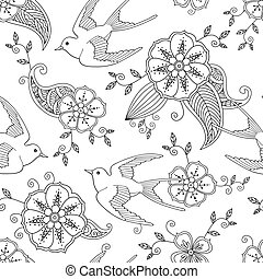 Seamless pattern with swallow bird flying and floral motif...