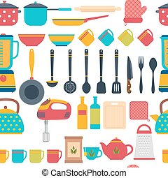Cooking utensils background. Seamless pattern with kitchen...