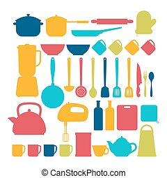 Kitchen appliances. Cooking tools and kitchenware equipment silhouettes