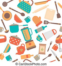Seamless pattern of kitchen utensils. Home appliances for cooking