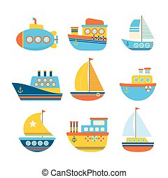 Set of sea transport. Different kind of boats. Fishing boats, yachts and sailboats