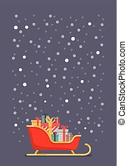 Santa sleigh containing a full of presents