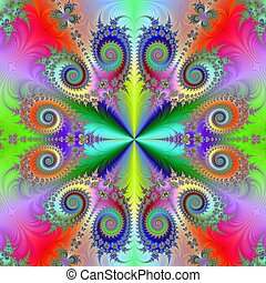 Rainbow Quartet - Computer generated fractal image with an...