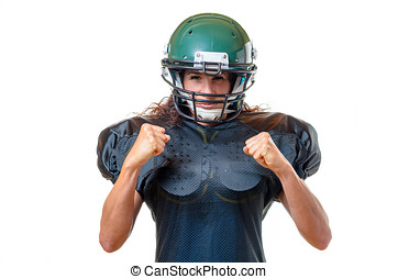 Motivated focused young female football player - Motivated...