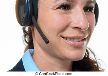 Attractive smiling woman wearing a headset