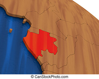 Gabon on wooden globe - Map of Gabon on wooden globe. 3D...