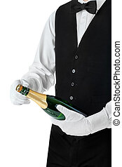 Professional waiter opening bottle of champagne isolated on...