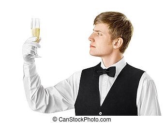 Sommelier examining wine isolated on white background