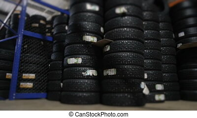 Car Tires At Warehouse In Tire Store, HD