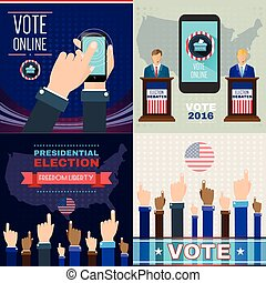 Digital vector usa presidential election with vote online,...